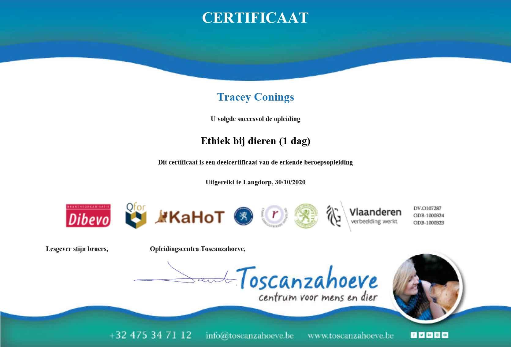 Certificaat Ethiek bij dieren Tracey Conings