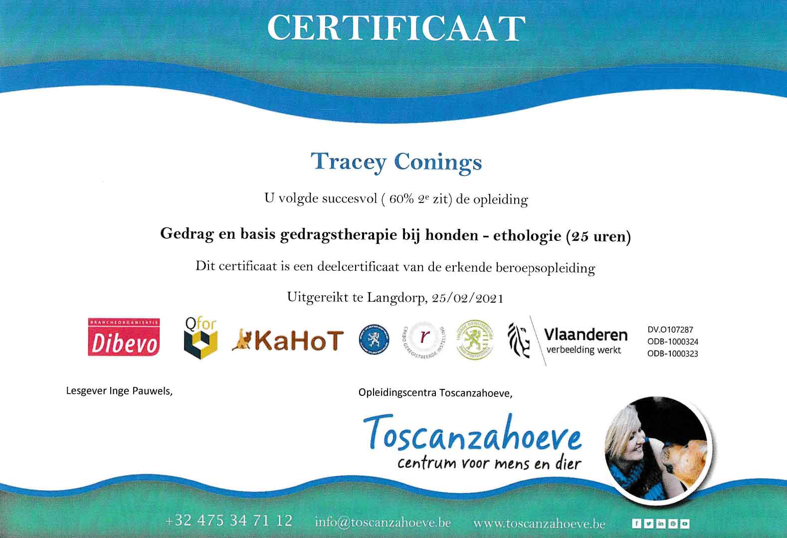 Certificaat Ethologie hond Tracey Conings